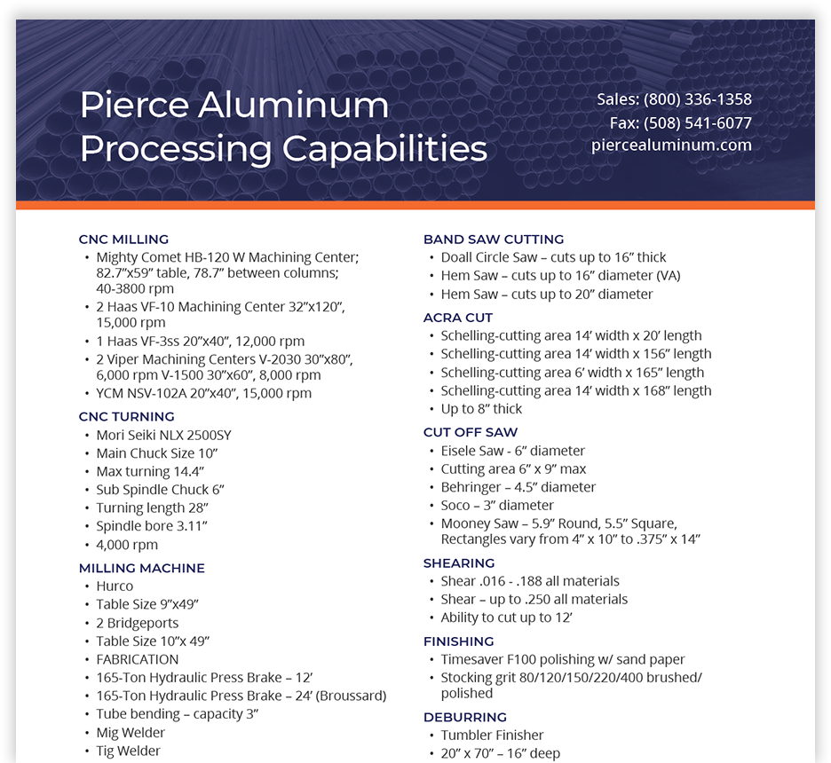 Pierce Aluminum line card